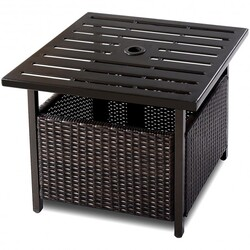 Outdoor Patio Rattan Wicker Steel Side Deck Table - Color: Brown