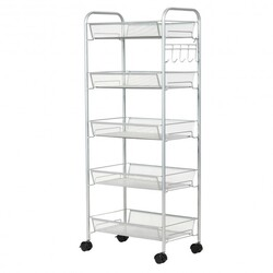 5 Tier Mesh Rolling File Utility Cart Storage Basket-Gray - Color: Gray
