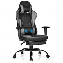 Massage Gaming Chair Recliner with Footrest and Adjustable Armrests for Home and Office-Black - Color: Black