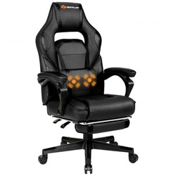 Massage Gaming Chair with Footrest and Lumbar Support-Black - Color: Black