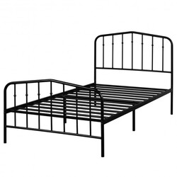 Twin Size Metal Bed Frame with Headboard & Footboard-Black