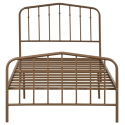 Twin Size Metal Bed Frame with Headboard and Footboard-Brown