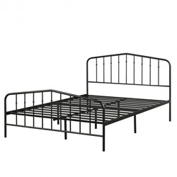 Full Size Metal Bed Frame with Headboard & Footboard-Black - Color: Black
