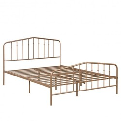 Full Size Metal Bed Frame with Headboard & Footboard-Brown