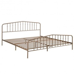 King Size Metal Bed Frame with Headboard & Footboard-Brown