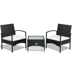 3 pcs Patio Wicker Rattan Furniture Set with White Cushion - Color: Black