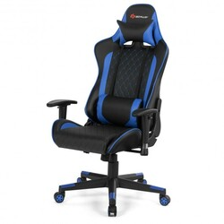 Massage Gaming Chair with Lumbar Support and Headrest-Blue