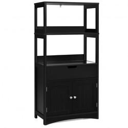 Category: Dropship Storage, SKU #HW66295BK, Title: Bathroom Storage Cabinet with Drawer and Shelf Floor Cabinet-Black - Color: Black