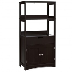 Category: Dropship Storage, SKU #HW66295CF, Title: Bathroom Storage Cabinet with Drawer and Shelf Floor Cabinet-Espresso - Color: Espresso