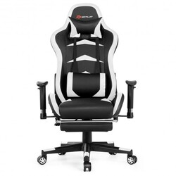 Massage Gaming Chair with Footrest-White - Color: White