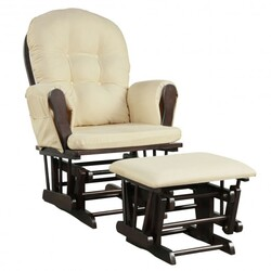 Baby Nursery Relax Rocker Rocking Chair Glider & Ottoman Set-Beige