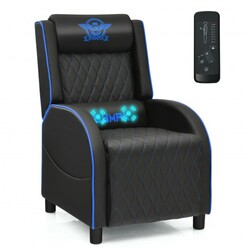 Massage Gaming Recliner Chair with Headrest and Adjustable Backrest for Home Theater-Blue - Color: Blue