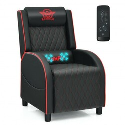 Massage Gaming Recliner Chair with Headrest and Adjustable Backrest for Home Theater-Red - Color: Red