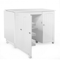 Category: Dropship Storage, SKU #HW66623WH, Title: Folding Sewing Table Shelves Storage Cabinet Craft Cart with Wheels-White - Color: White