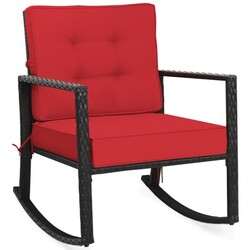 Patio Rattan Rocker Outdoor Glider Rocking Chair Cushion Lawn