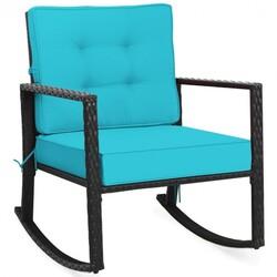 Patio Rattan Rocker Outdoor Glider Rocking Chair Cushion Lawn-Turquoise
