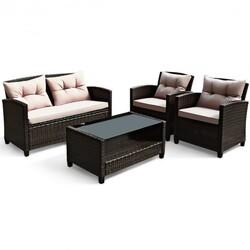 4 Pcs Outdoor Rattan Armrest Furniture Set Table with Lower Shelf