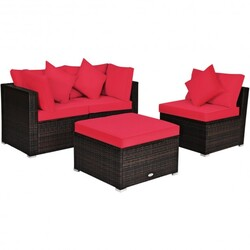4 Pcs Ottoman Garden Deck Patio Rattan Wicker Furniture Set Cushioned Sofa-Red - Color: Red