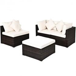 4 Pcs Ottoman Garden Deck Patio Rattan Wicker Furniture Set Cushioned Sofa-White - Color: White
