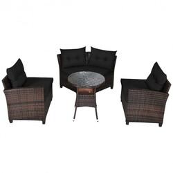 4Pcs Outdoor Cushioned Rattan Furniture Set-Black - Color: Black