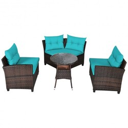 4Pcs Outdoor Cushioned Rattan Furniture Set-Turquoise - Color: Turquoise