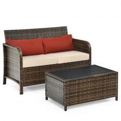 2Pcs Cushioned Patio Rattan Furniture Set