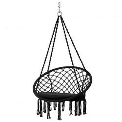 Macrame Cushioned Hanging Swing Hammock Chair-Black - Color: Black
