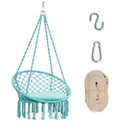 Macrame Cushioned Hanging Swing Hammock Chair-Turquoise - Color: Turquoise
