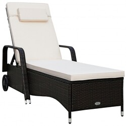 Outdoor Recliner Cushioned Chaise Lounge w/ Adjustable Backrest