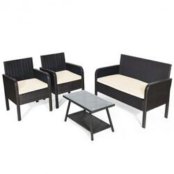 4Pcs Patio Rattan Wicker Furniture Set Conversation Sofa Bench Cushion-White - Color: White