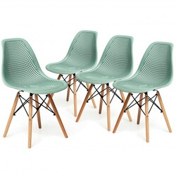 4 Pcs Modern Plastic Hollow Chair Set with Wood Leg-Green - Color: Green