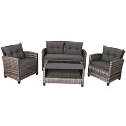 4Pcs Patio Rattan Furniture Set Coffee Table Cushioned Sofa