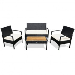 4 Pcs Patio Rattan Furniture Set Sofa Chair Coffee Table with Cushion-White - Color: White