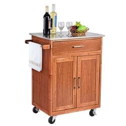 Category: Dropship Kitchen & Dining Carts, SKU #KC43383, Title: Wooden Kitchen Rolling Storage Cabinet with Stainless Steel Top