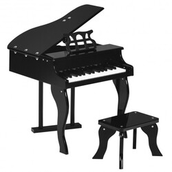 Classic 30 Key Baby Grand Wooden Piano with Bench-Black - Color: Black