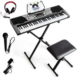 61 Key Electronic Keyboard Piano Set with Stand Bench Headphones