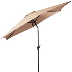 9FT Patio Umbrella Patio Market Steel Tilt W/ Crank Outdoor Yard Garden-Beige - Color: Beige