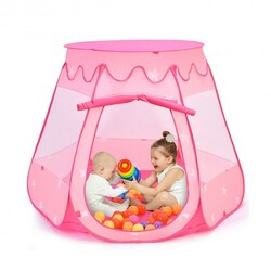 Pink Portable Kid Play House Play Tent with 100 Balls - Color: Pink