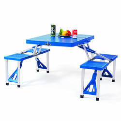 Outdoor Folding Camping Table and Bench Set - Color: Blue