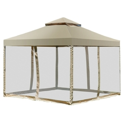 Category: Dropship Canopies & Gazebos, SKU #OP3345, Title: Outdoor 2-Tier 10' x 10' Screw-free Structure Shelter Awning Gazebo Canopy
