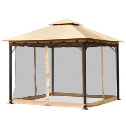 2-Tier 10' x 10'  Patio Shelter Awning Steel Gazebo Canopy