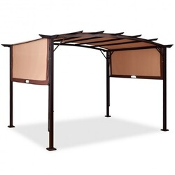 Category: Dropship Canopies & Gazebos, SKU #OP3348+, Title: 12' x 9' Pergola Kit Metal Frame Grape Gazebo & Canopy Cover