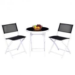 3 Pcs Folding Garden Patio Table Chairs Set -Black - Color: Black