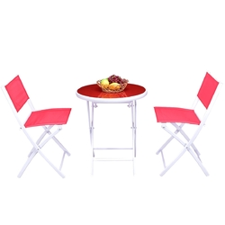 3 Pieces Patio Folding Bistro Set for Balcony or Outdoor Space-Red - Color: Red