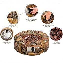 28'' Propane Gas Fire Pit Outdoor 40 000 BTU Stone-Brown - Color: Brown