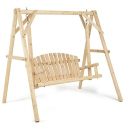 Wooden Porch Bench Swing Chair with Outdoor Rustic Curved Back - Color: Natural
