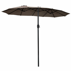 15' Twin Patio Umbrella Double-Sided Outdoor Market Umbrella without Base -Tan - Color: Tan