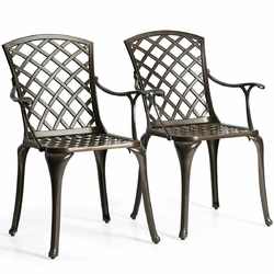 Category: Dropship Outdoor Chairs, SKU #OP3861, Title: Outdoor Aluminum Dining Set of 2 Patio Bistro Chairs