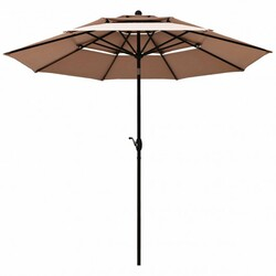 10ft 3 Tier Patio Umbrella Aluminum Sunshade Shelter Double Vented without Base-Beige - Color: Beige - Size: 10 ft x 8 ft