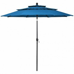 10' 3 Tier Patio Umbrella Aluminum Sunshade Shelter Double Vented without Base-Blue - Color: Blue - Size: 10 ft x 8 ft
